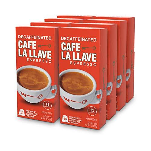 Cafe La Llave Decaf Espresso Capsules, Intensity 11-Recylable Coffee Pods (80 Count) Compatible with Nespresso OriginalLine Machines