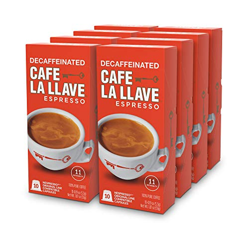 Caf La Llave Decaf Espresso Capsules, Intensity 11-Recylable Coffee Pods (80 Count) Compatible with Nespresso OriginalLine Machines