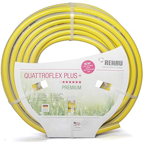 """REHAU QUATTROFLEX Plus + Gartenschlauch Wasserschlauch PVC gelb, 15 Meter 1 1/4\"""""""