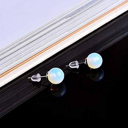 8Mm Pendientes de Piedra Natural Crystal Quartz Ball Beasilver Simple Fashion Wild Earrings Girl Gift, Opal