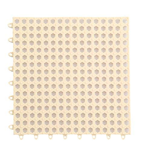 Creativee 4 Alfombrillas de Ducha Modulares Entrelazadas de 30 x 30 cm, Antideslizantes para Eempalme de Baldosas, Iimpermeables, para Drenaje, Piscina, Ducha, Baño, Cocina(Beige)