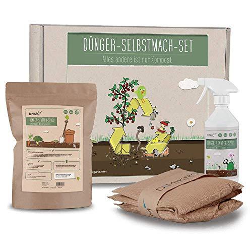 DIMIKRO Dünger-Selbstmach-Set - Fermentierten Bokashi Dünger aus Lebensmittelresten selbst herstellen ohne Bokashi Eimer - schneller und nährstoffreicher als Kompost - Biomüll recyclen (Ohne Eimer)