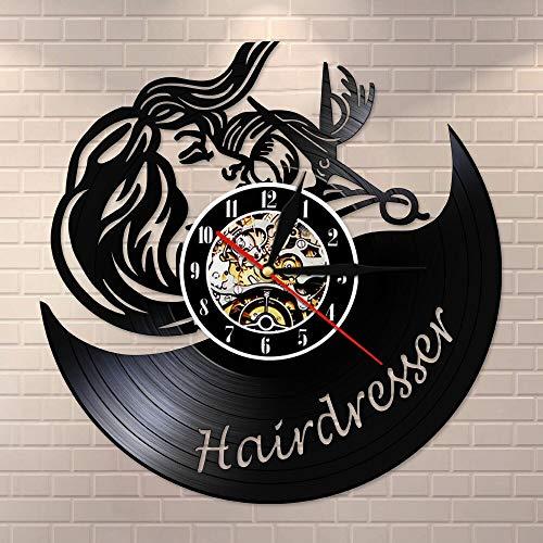 BFMBCHDJ Friseur Schere Retro Wanduhr Friseursalon Vinyl Schallplattenuhr Schönheitssalon Friseur Wandschild Uhr Haarschnitt Dekorativ Keine LED 12 Zoll
