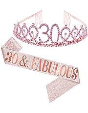 Dsaren 2 Piezas Cristal Cumpleaños Corona Tiara de Cumpleaños Banda para Mujer Niña Fiestas de Feliz Suministros Decoración Accesorios Regalo (30 años)