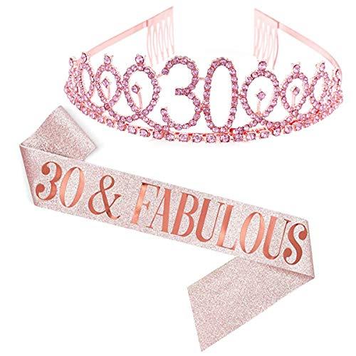 Dsaren 2 Pezzi Strass Corona Compleanno Tiara Fascia Birthday Cerchietto Corona di Cristallo per Adulto Donna Ragazza Feste di Compleanno Accessorio Decorazioni Regalo (30 Anni)