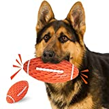 YOUMI Dog Chew Squeaky Toy Ball, Dog Interactive Toy for Aggressive Chewers, Durable Dog Toys Rugby Shape for Dogs, Rubber Chew Ball with Squeaker, Makes Dog Fun, for Fetch Game and Outdoor Play