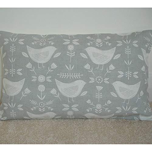 Toll2452 Funda de cojín rectangular con diseño de pájaros grises y pájaros, color gris