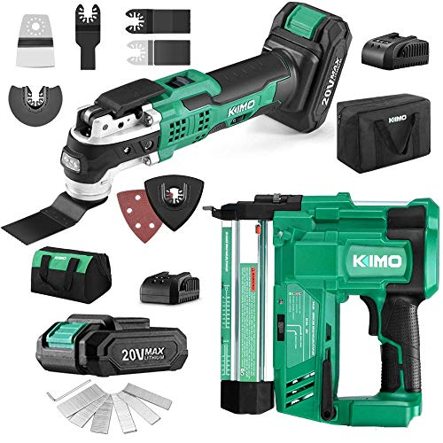 Lowest Prices! KIMO 20V 18 Gauge Cordless Brad Nailer/Stapler, 20V Cordless Oscillating Tool Kit, 2....