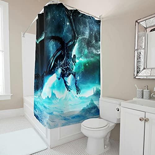 kikomia Cortina de ducha lavable, diseño de dragón de hielo, 180 x 180 cm, color blanco