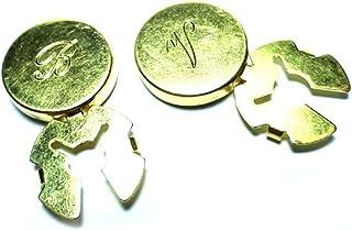 artigianale 1 Coppia COPRIBOTTONI 18 MM, Personalizzati 1 Iniziale per COPRIBOTTONE, Scegli Colore Oro, Argento ETC, Copri...