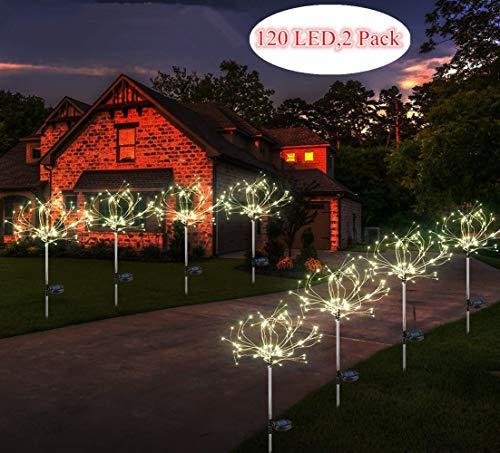 Sunboia Led Luces solares de Fuegos Artificiales,2x120Leds Luces solares de Estrellas,Luces de Alambre de Cobre para Exteriores,para Bodas,Fiestas,decoración de Navidad,Colorido
