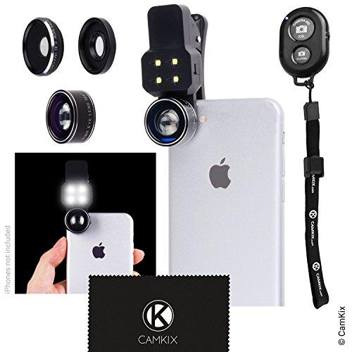 CAMKIX Kit Lenti Fotocamera con Luce LED per Cellulare/Tablet, Include Telecomando Otturatore Fotocamera Bluetooth - Universale – Lente Fisheye, Grandangolo e Macro (Non Adatto per iPhone 7 Plus)