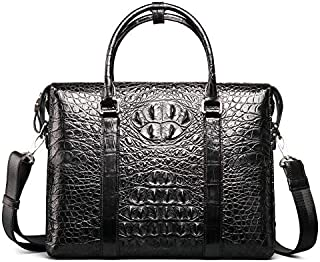 New Crocodile Leather Man Bag Crocodile Leather Handbag Crocodile Handbag Business Men and Leisure Bag Leather Briefcase (Color : Black)