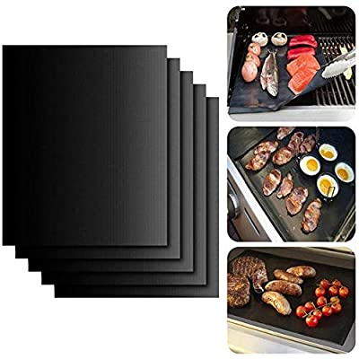 UNIVERSESTAR 5Pcs Grill Mat Heavy Duty BBQ Grill Mats Non Stick, BBQ Grill & Baking Mats - Reusable, Easy to Clean Barbecue Grilling Accessories (Black)
