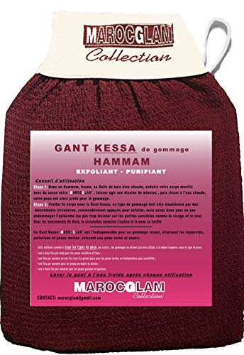 Guantes exfoliantes para cuerpo SPA Hamam, guantes de exfoliación KESSA para cuerpo y cara purificante con jabón negro by Maroc Glam