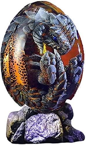 ZHEYANG Juguetes Dinosaurios Adornos de Escritorio de Escultura de Resina de Huevo de dragn Transparente de Cristal de ensueo Model:G01409(Color:Blue)