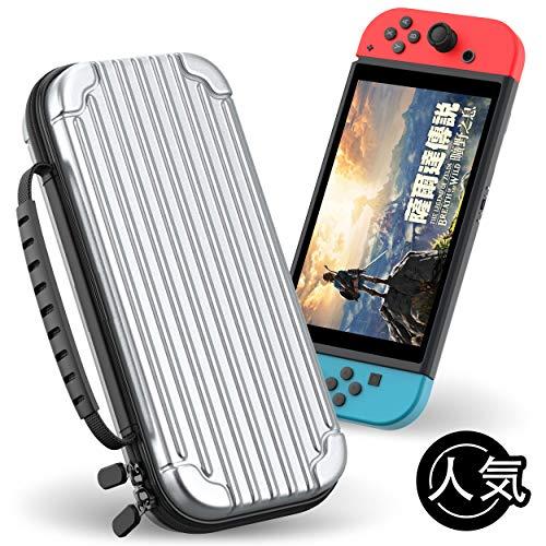 Nintendo Switch キャリングケース Juspro ニンテンドー スイッチ ハード ポーチ 収納バッグ 耐衝撃 防塵 薄型全面保護 10枚ゲームカード アクセサリー 収納 持ち運び便利 (シルバー)