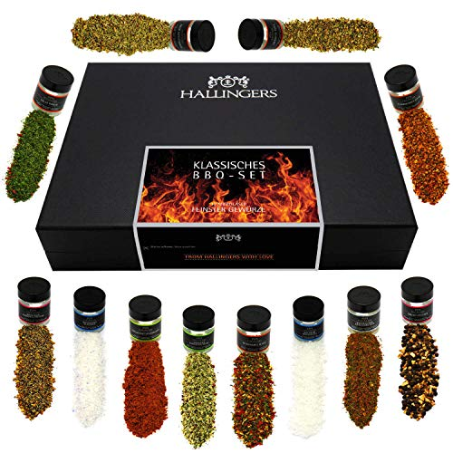 Hallingers 12er BBQ-Geschenk-Set mit Gewürzen aus aller Welt (220g) - Klassisches BBQ-Set (Design-Karton) - zu Muttertag & Vatertag