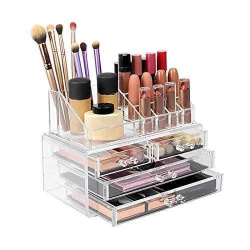 Organizador de cosméticos, acrílico, con 4 cajones, transparente (4 cajones)