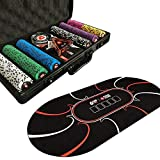 LANGWEI Set di Fiches da Poker per Texas Hold'em, 300 Pezzi di Fiches in Composito di Argilla con Custodia in Alluminio, Carte da Gioco, Carta da Parati E Pulsante del Banco per Giochi da Casinò