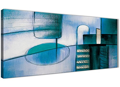 Wallfillers Teal Cream Schilderij Slaapkamer Canvas Wall Art Accessoires - Abstract 1417-120cm Print