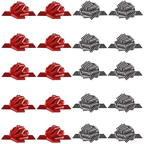 20 Piezas Lazos de Tirar de Navidad Lazos a Cuadros de Búfalo Lazos de Tirar de Envoltura Lazos de Cinta de Navidad para Manualidades de Cesta Corona Navideña (2,6 x 8 Pulgadas)