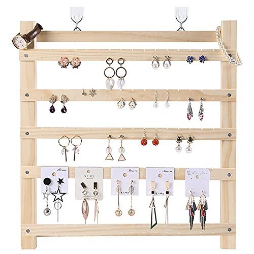 Soporte para pendientes Organizador de almacenamiento de joyas de madera maciza Estante para pendientes de pared Adornos para el hogar Soporte de exhibición Colgador para collar Clip de oreja