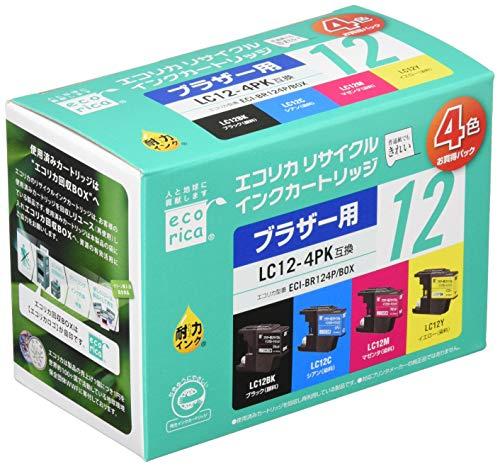 エコリカ ブラザー(Brother)対応 リサイクル インクカートリッジ 4色セット LC12-4PK (目印:ブラザー12) ECI-BR124P/BOX