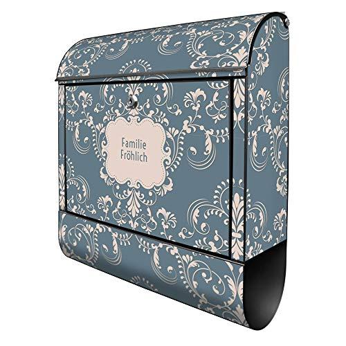 Banjado Design Briefkasten personalisiert mit Motiv Royal Creme Blau   Stahl pulverbeschichtet mit Zeitungsrolle   Größe 39x47x14cm, 2 Schlüssel, A4 Einwurf, inkl. Montagematerial