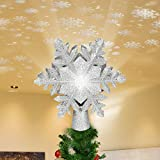 Christmas Tree Topper, 9.5-Inch Silver Glittered Snowflake Shape Treetop with Snowflakes Projector, Night Light for Christmas Nursery...