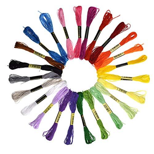 Fornateu Kreuzstich Baumwollfaden Stickerei Floss Armband Garn handgemachte DIY Stricken String zufällige Farbe - 24 Skeins