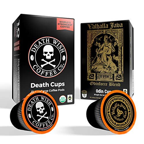DEATH WISH Death Cups and VALHALLA JAVA Odinforce Blend Single-Serve Coffee Pods [10 each | 20 Count] The World's Strongest Coffee, USDA Certified Organic