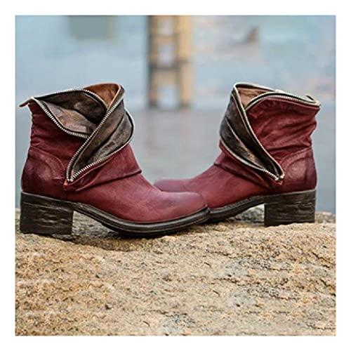 HUDUO Botas cortas de piel para mujer, estilo vintage, estilo vaquero, con cremallera, estilo retro, talla grande, color rojo 36