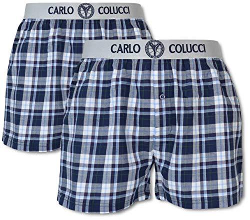 Carlo Colucci Boxershort mit Webbund, 2er Pack, Blau kariert Blau/Weiß XXL