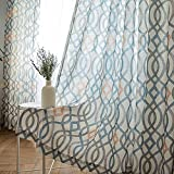 Curtain Stripe Cotton Linen Blackout Curtains Printed Eyelets Curtains 2 Panels for Livingroom Bedroom Kitchen Kids Room W175xL140cm
