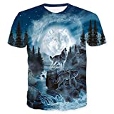 Genuxury Mens 3D Digital Printed Wolf Pattern T-Shirts Top, Wolf, Size XX-Large
