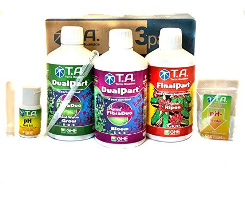 GHE Tripack Duo-Part series Hydroponics Nutrients im 6-teiligen Set Bio-Dünger Set für Palmen Bonsai-Starter anbau Senua General Hydro