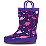 LONECONE Rain Boots with Easy-On Handles in Fun Patterns for Toddlers and Kids, Pink Dinosaurs, 7 Toddler