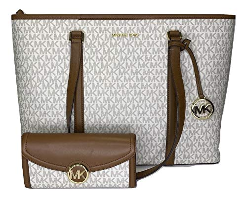 MICHAEL Michael Kors Sady Large MF TZ Tote bundled with Michael Kors Fulton Flap Continental Wallet (Signature MK Vanilla)