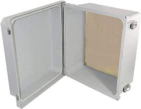 Altelix 14x12x8 FRP Fiberglass NEMA 4X Box Weatherproof Enclosure with Aluminum Equipment Mounting Plate, Hinged Lid & Stainless Steel Latches