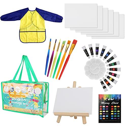 29 Pcs Kits de Pinceles de Esponja Wikay niños Gouache Craft Pinceles y Delantal Herramientas de Pintura, Acuarelas niños,...