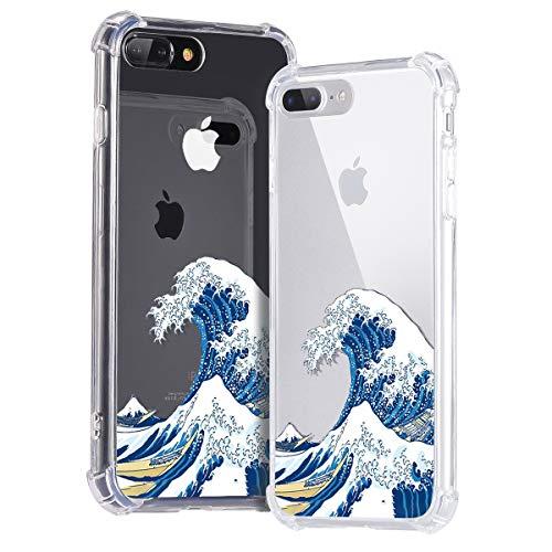 Idocolors Hoesje voor iPhone 6 Plus/6S Plus Schattig Golven Schokbestendig Slim TPU + Transparante Hard Plastic Achterkant BeschermHoesje met Hoekkussen Bumper Cover Case