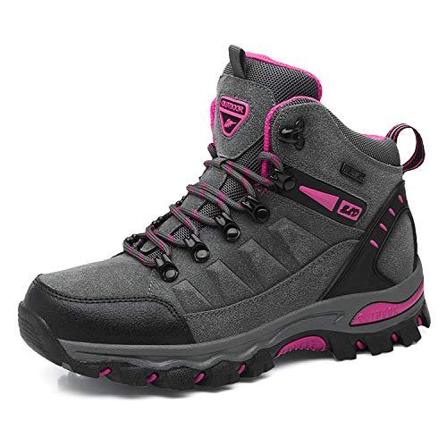 WOWEI Scarpe da Escursionismo Arrampicata Sportive All'aperto Impermeabili Traspiranti Trekking Sneakers da Donna Uomo,Grigio Rosa Rossa 1,40