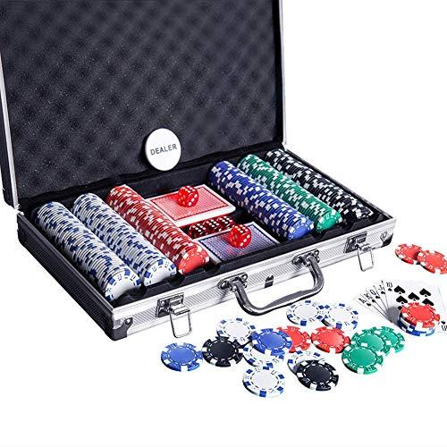 Casino ficha de póker Set Premium Set con la ficha de póker de aluminio de transporte Reproducción Botón Tarjetas distribuidor de Tejas Holden Blackjack Torneos de juegos de cartas de juego 300PCS