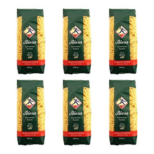 6er Pack Riesa Nudel Schlemmerliebling Makkaroni Chips (6 x 500 g) Teigwaren, Riesa Nudeln, Pasta