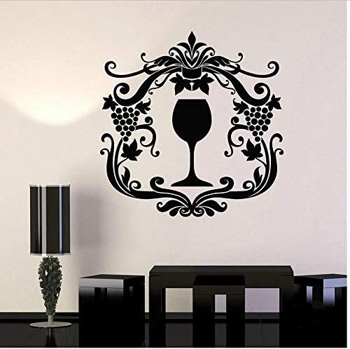 MUXIAND Muurstickers, Drank druif bloem DIY PVC Quotes Slaapkamer Art Muursticker Woonhuis Decor Keuken Mural Waterdicht Office Creative Club Verjaardagscadeau 57x57cm