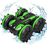 LUOWAN Auto telecomandata anfibia, Auto da Corsa ad Alta velocità a 4 Ruote motrici a 2,4 GHz, Rotazione a 360 Gradi, Adatta per l'uso su Terra e Acqua(Verde)