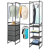 mDesign Modular Closet Organizer System, Storage Unit, Sturdy Steel Frame, 3 Fabric Drawer...