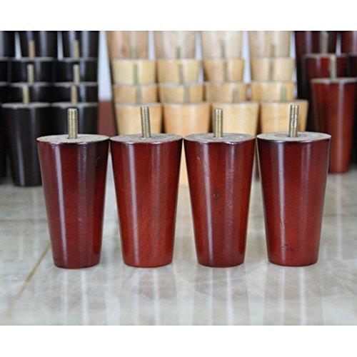Sharplace 4pcs Patas de Muebles Sillas Sofá Tabla Mesa Madera Forma de Cono - Rojo, 4 * 6 * 10cm
