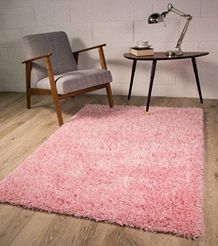 The Rug House Alfombra Ontario de Color Rosa Brillante Antideslizante Super Suave Pelo Alto – Disponible en 4 Tamaños